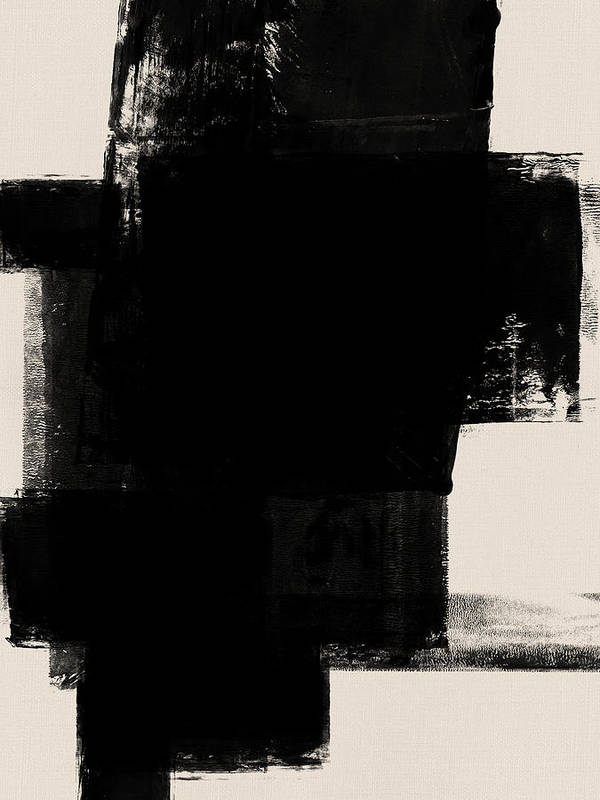 Black And White Poster featuring the mixed media Abstract Black And White No.1 by Naxart Studio