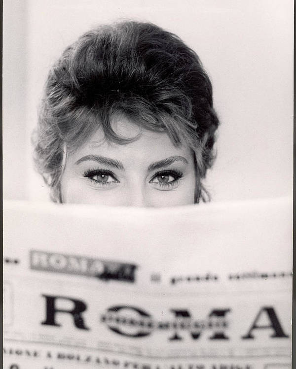 Newspaper Poster featuring the photograph Actress Sophia Loren Impishly Peering by Alfred Eisenstaedt