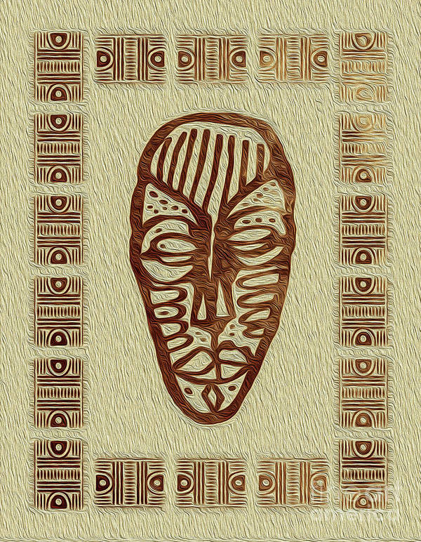 Art Print Poster featuring the digital art African Tribal Mask Expression 3 by Kenneth Montgomery