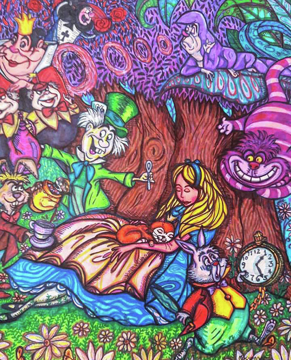 Sharpies Poster featuring the drawing Alice In Wonderland by Janine Messenger