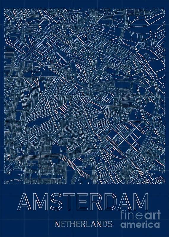 Amsterdam Poster featuring the digital art Amsterdam Blueprint City Map by HELGE Art Gallery