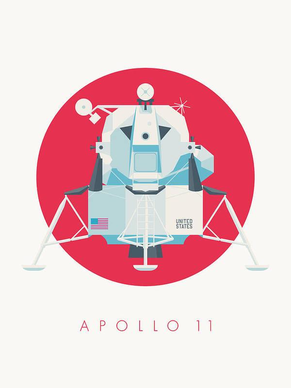 Apollo 11 Poster featuring the digital art Apollo Lunar Module Lander Minimal - Text Crimson by Ivan Krpan