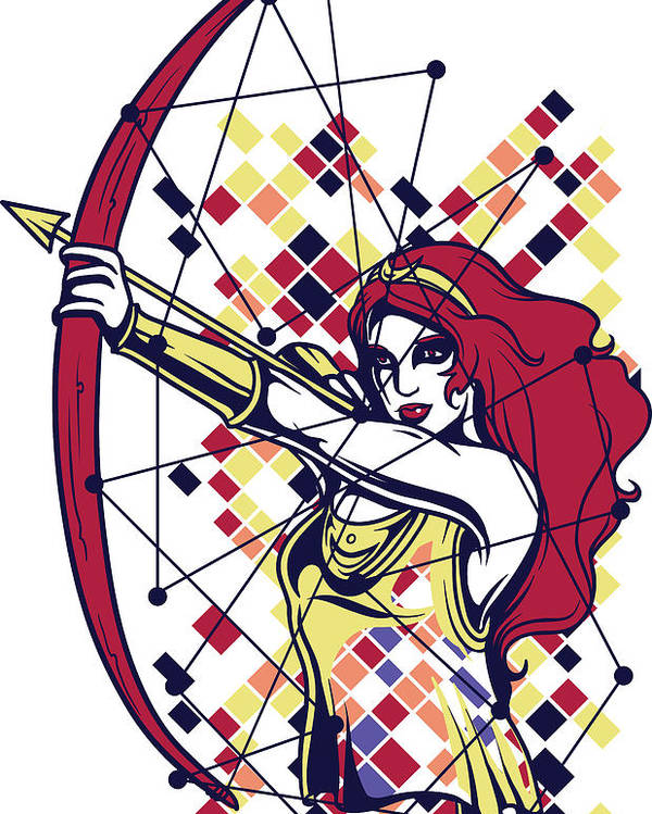 Greek-mythology Poster featuring the digital art Artemis Greek Olympian Goddess Archery by Passion Loft