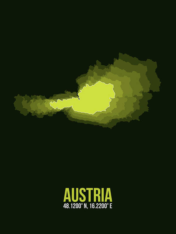 Map Of Austria Poster featuring the digital art Austria Radiant Map 3 by Naxart Studio