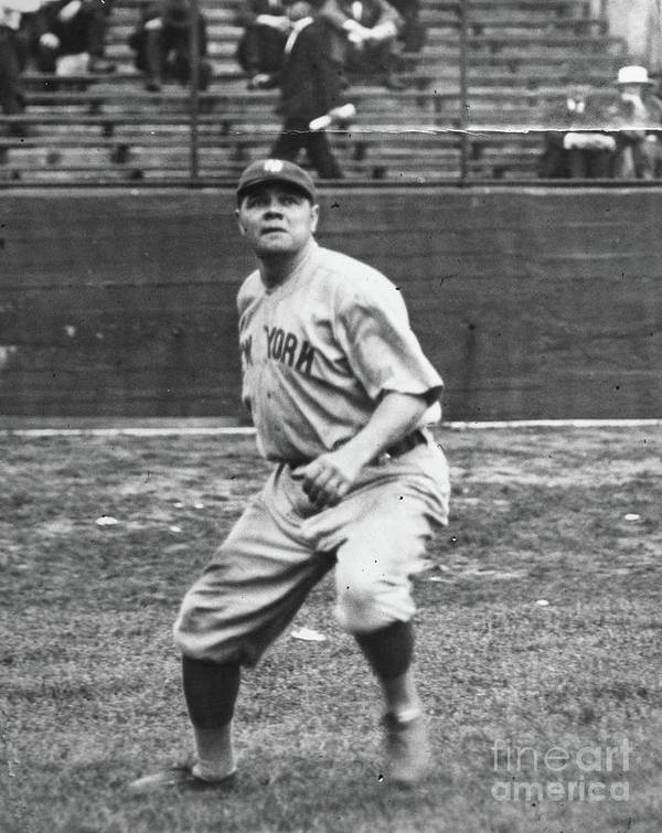 People Poster featuring the photograph Babe Ruth In Right Field by Transcendental Graphics