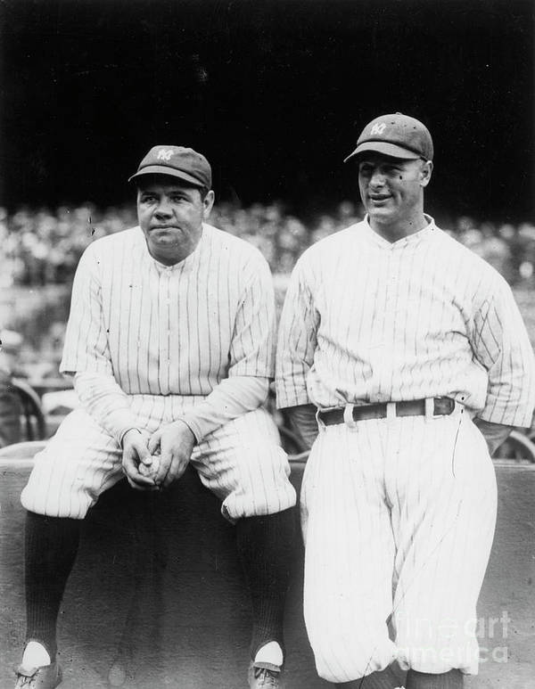 American League Baseball Poster featuring the photograph Babe Ruth Lou Gehrig Yankee Stadium by Transcendental Graphics