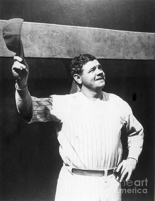 People Poster featuring the photograph Babe Ruth Salutes The Crowd by Transcendental Graphics