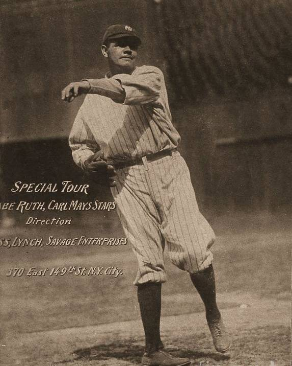 People Poster featuring the photograph Babe Ruth Special Tour Postcard by Transcendental Graphics