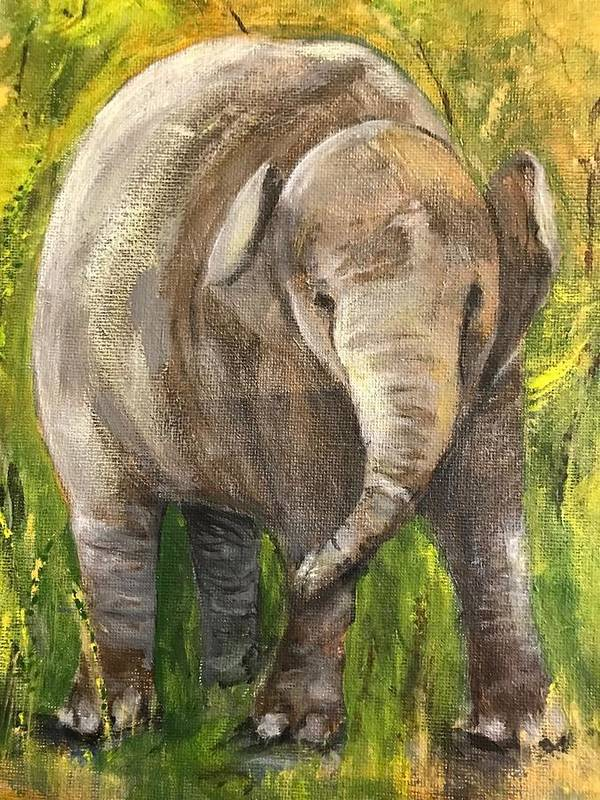 Elephant Poster featuring the painting Baby Elephant by Marilyn Barton