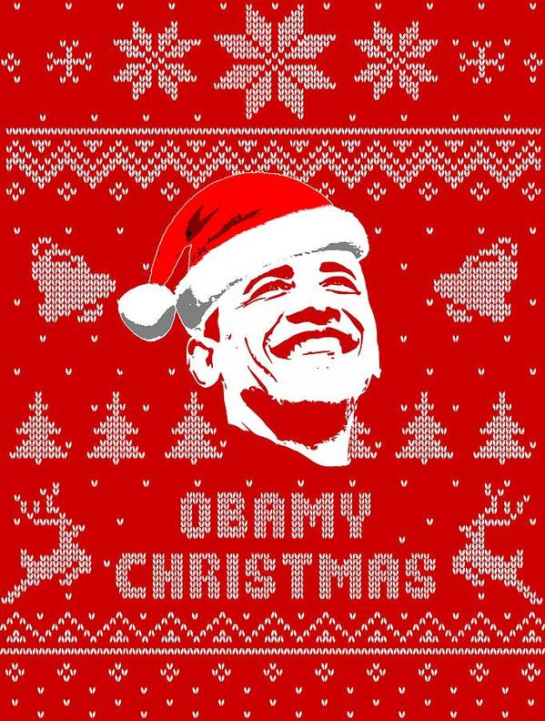 Santa Poster featuring the digital art Barack Obama Obamy Christmas by Filip Hellman