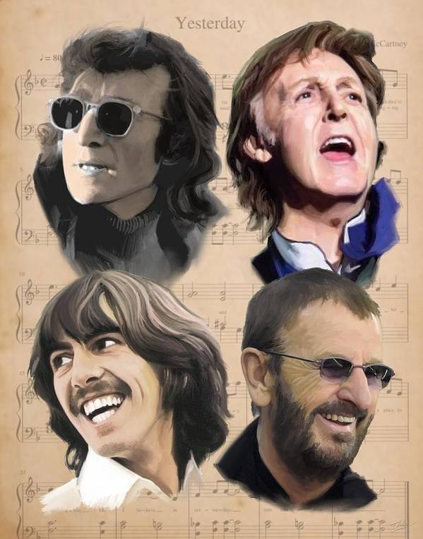 Beatles Poster featuring the painting Beatles Yesterday by Paul Tag