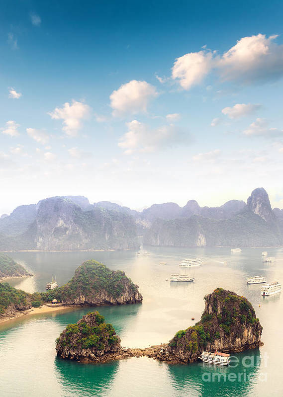 Panoramic Poster featuring the photograph Beautiful Landscape Of Halong Bay In by Banana Republic Images