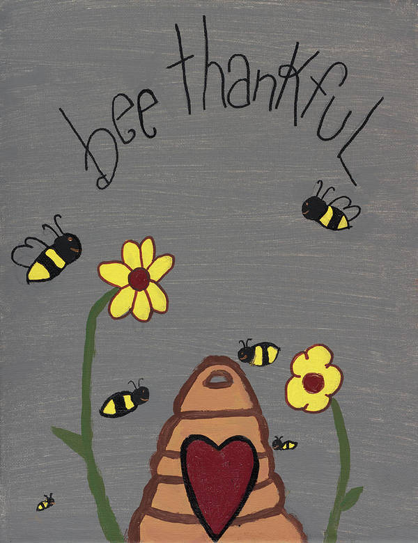 Bee Thankful Poster featuring the photograph Bee Thankful by Nina Marie