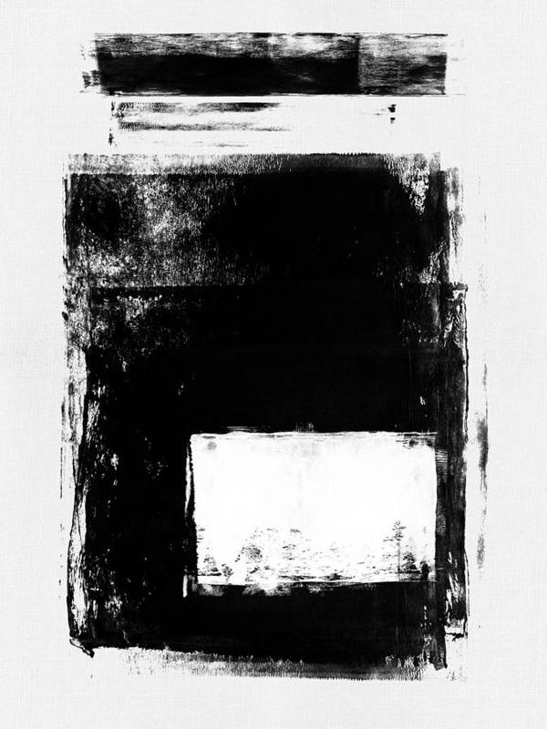Black And White Poster featuring the mixed media Black Brush Roll I by Naxart Studio