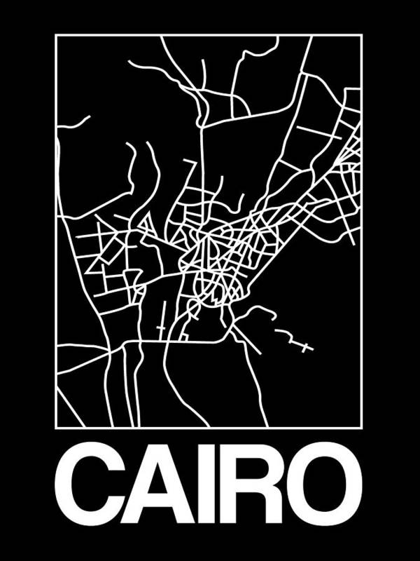 Cairo Poster featuring the digital art Black Map Of Cairo by Naxart Studio