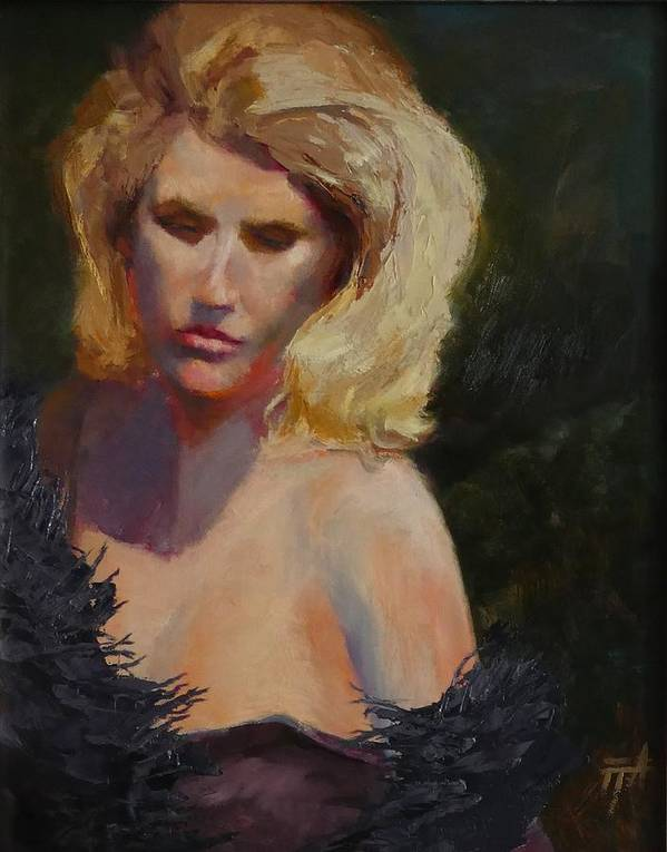 Woman Poster featuring the painting Blond in Black by Irena Jablonski