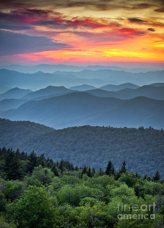 Sunrise Poster featuring the photograph Blue Ridge Parkway Scenic Landscape by Dave Allen Photography
