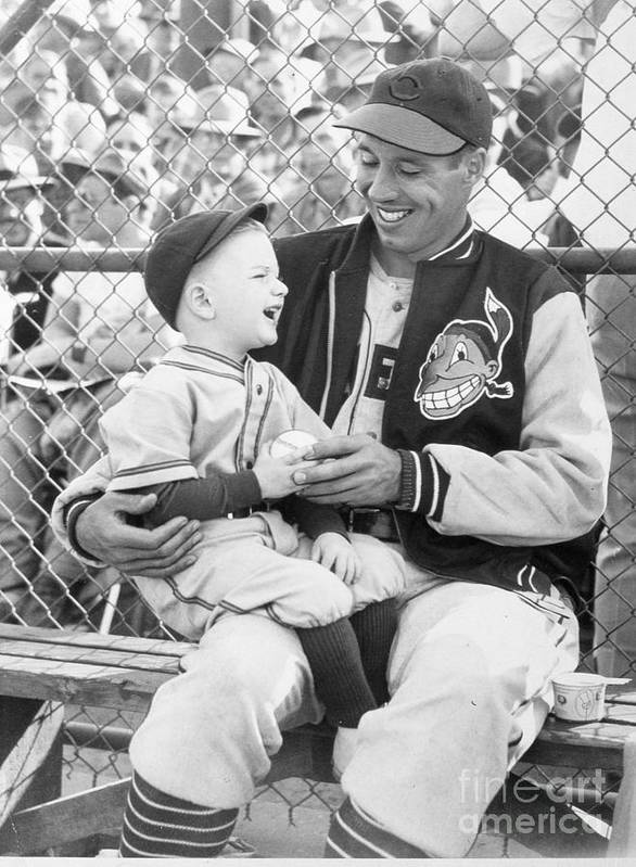 American League Baseball Poster featuring the photograph Bob Feller With Young Fan by Transcendental Graphics