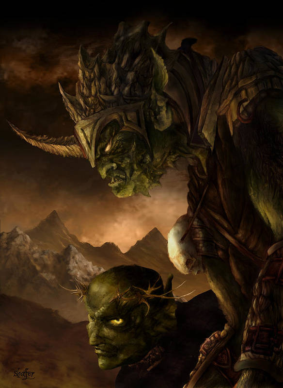 Goblin Poster featuring the mixed media Bolg The Goblin King by Curtiss Shaffer
