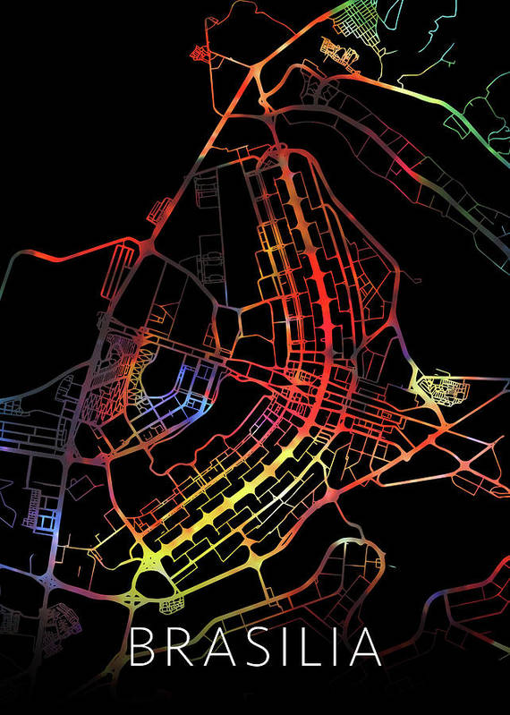 Brasilia Poster featuring the mixed media Brasilia Brazil City Street Map Watercolor Dark Mode by Design Turnpike