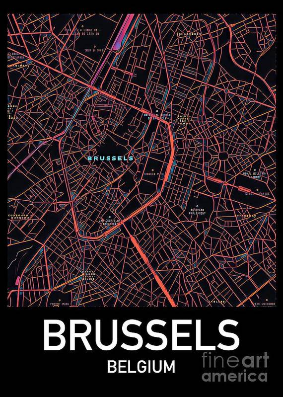 Brussels Poster featuring the digital art Brussels City Map by HELGE Art Gallery