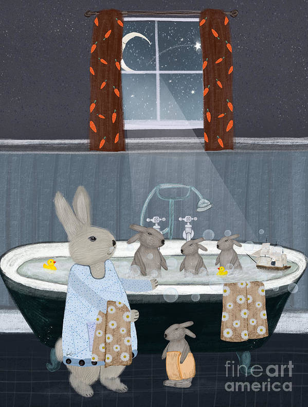 Nursery Art Poster featuring the painting Bunny Bath Time by Bri Buckley
