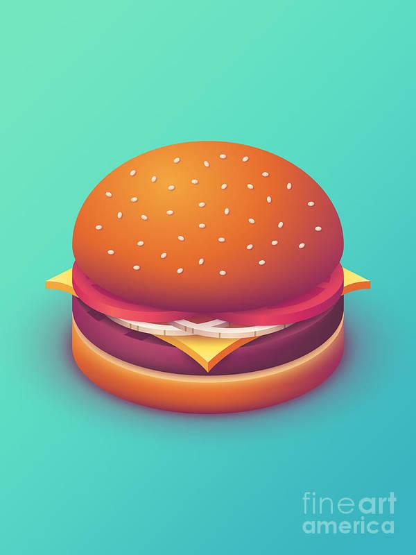 Burger Poster featuring the digital art Burger Isometric - Plain Mint by Ivan Krpan