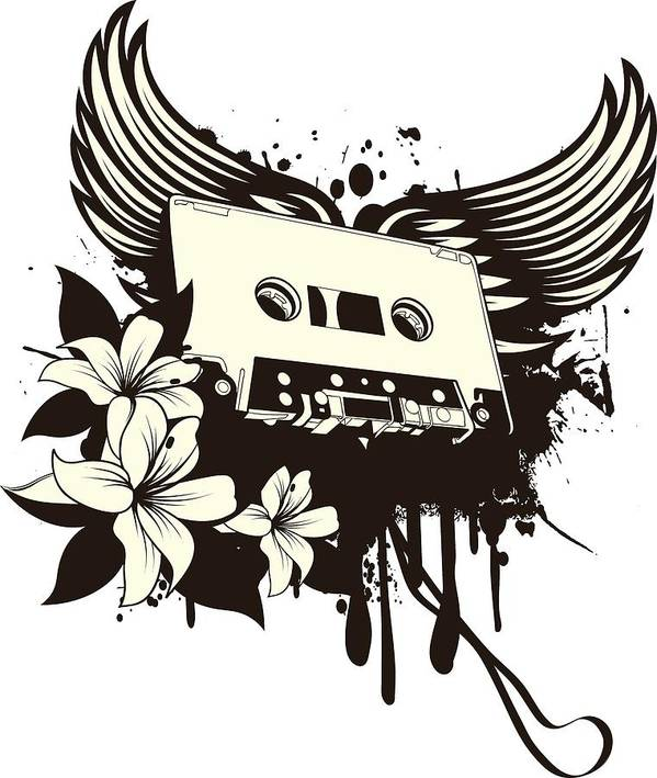 Gothic Poster featuring the digital art Cassette Tape With Wings by Passion Loft