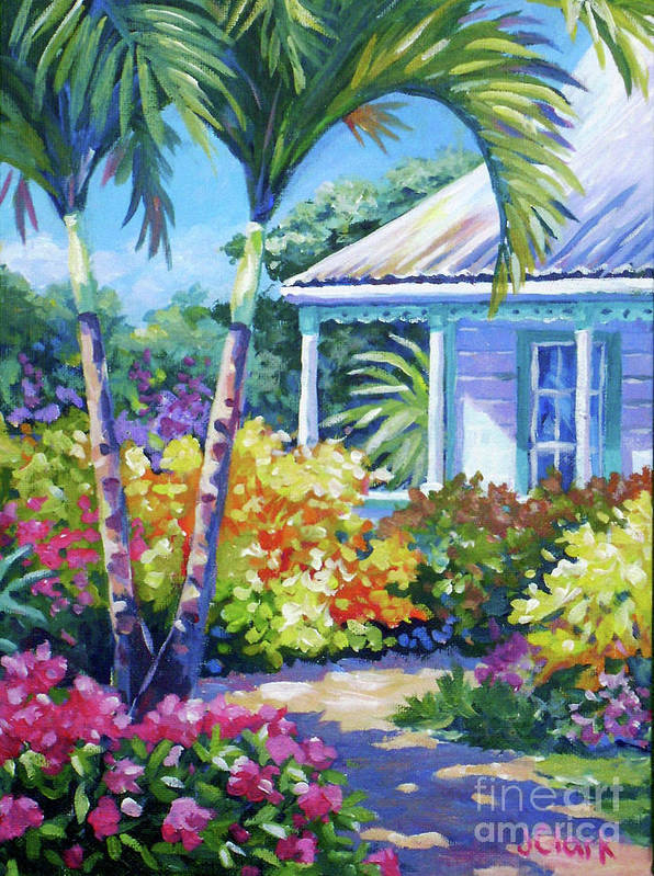 Art Poster featuring the painting Cayman Yard by John Clark