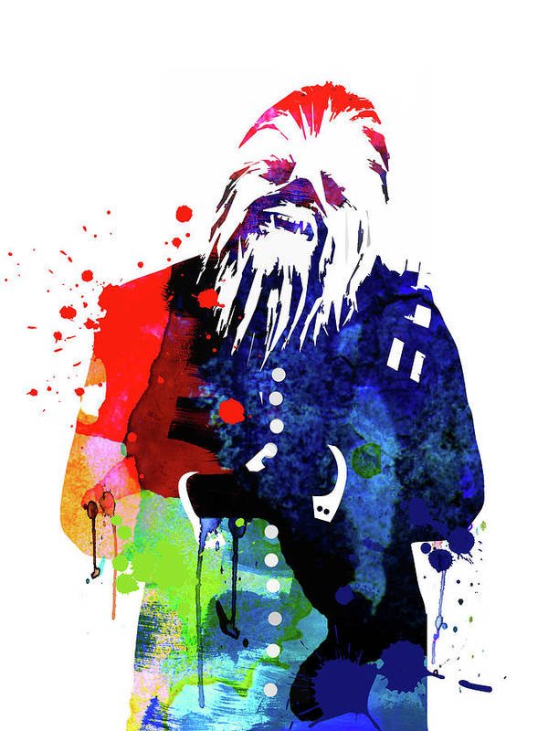 Poster featuring the mixed media Chewbacca In A Suite Watercolor by Naxart Studio
