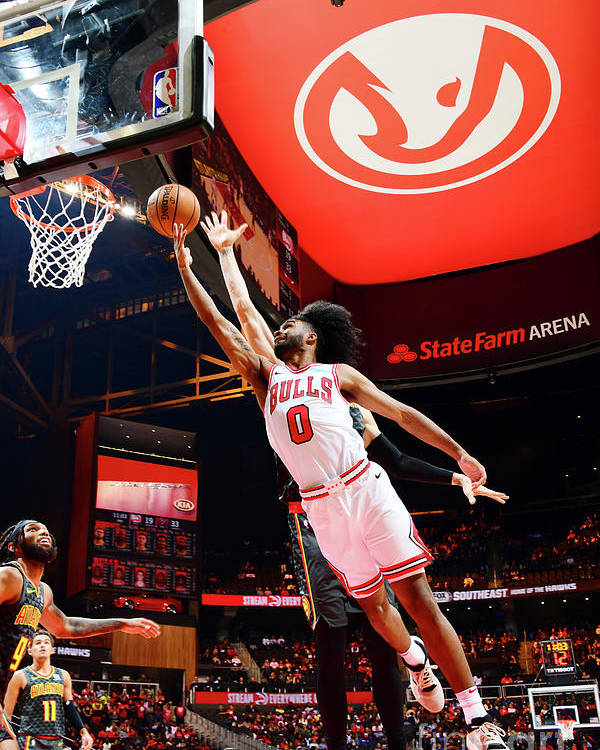 Atlanta Poster featuring the photograph Chicago Bulls V Atlanta Hawks by Scott Cunningham