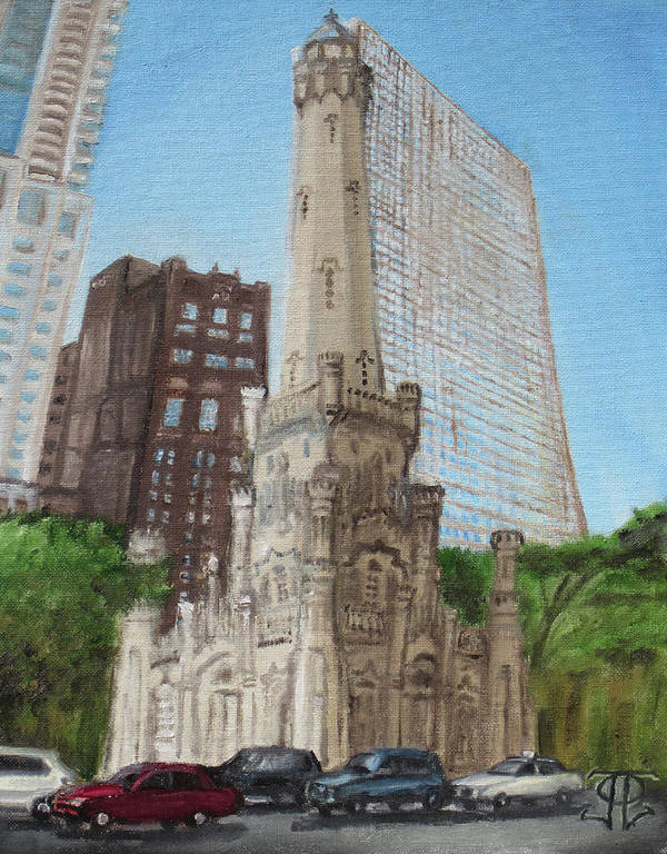 Chicago Poster featuring the painting Chicago Water Tower 1c by Jeffrey Oleniacz