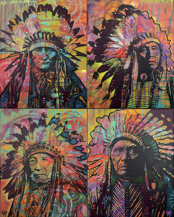 Chiefs Quadrant Poster featuring the mixed media Chiefs Quadrant by Dean Russo