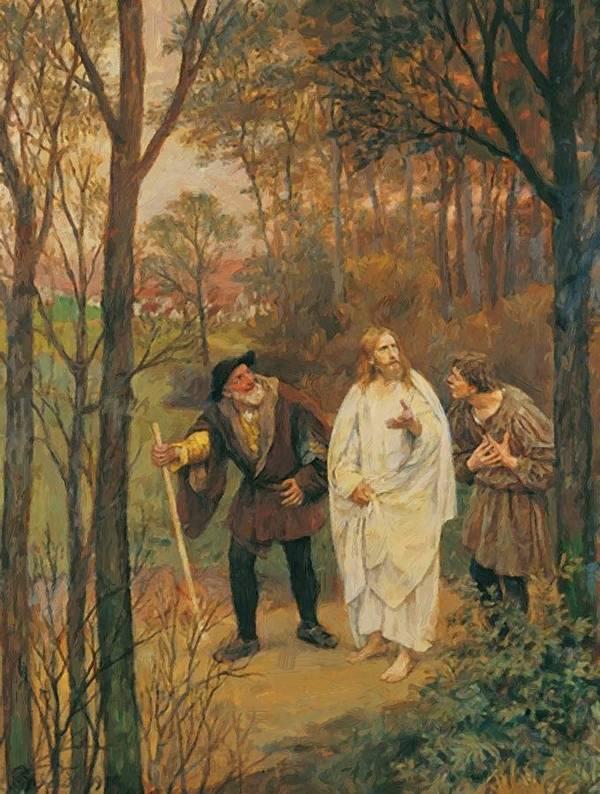 Christus Poster featuring the painting Christus Und Die J Nger Von Emmaus 1914 by Gebhardt Eduard von