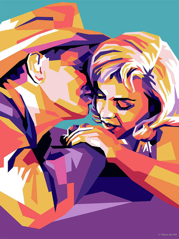 Clark Poster featuring the digital art Clark Gable and Marilyn Monroe by Stars on Art