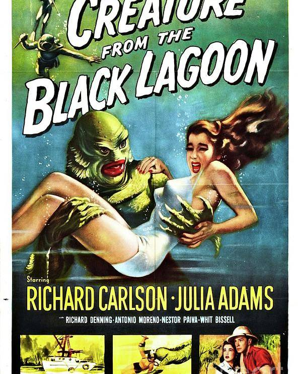 Poster Poster featuring the painting Classic Movie Poster - Creature From The Black Lagoon by Esoterica Art Agency