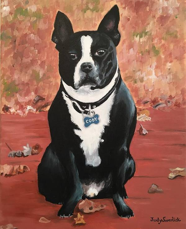 Dog Poster featuring the painting Cody by Judy Swerlick