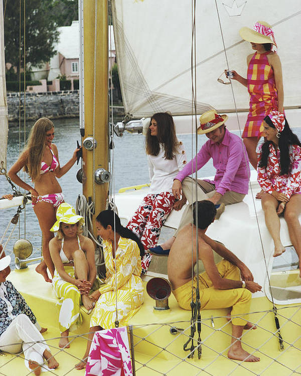 People Poster featuring the photograph Colourful Crew by Slim Aarons