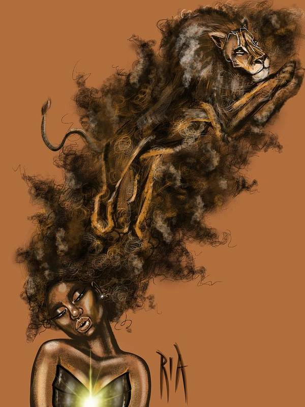Lion Poster featuring the painting Courageous Me by Artist RiA