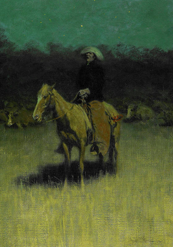 Frederic Remington Poster featuring the painting Cowpuncher's Lullaby, 1906 by Frederic Remington