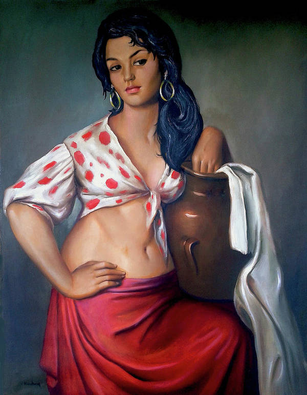 Lady Poster featuring the painting Cuban Girl by Jose Manuel Abraham