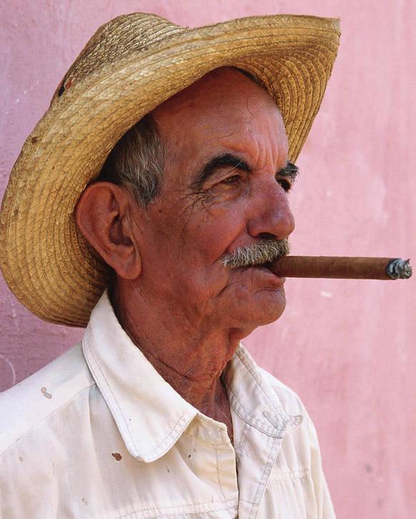 4d71f3f5b Cuban Man Smoking A Cigar Next To Pink Poster