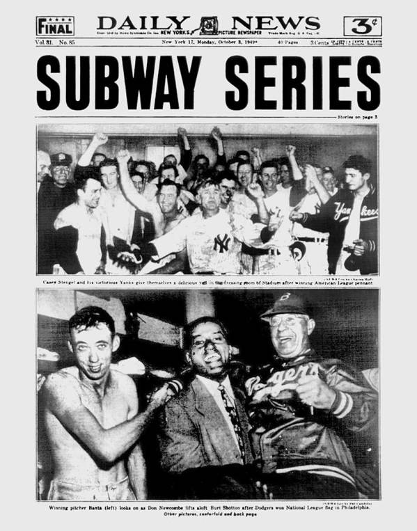 American League Baseball Poster featuring the photograph Daily News Front Page October 3, 1948 by New York Daily News Archive