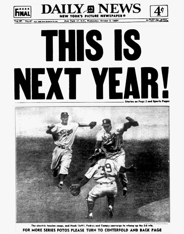 1950-1959 Poster featuring the photograph Daily News Front Page October 5, 1955 by New York Daily News Archive