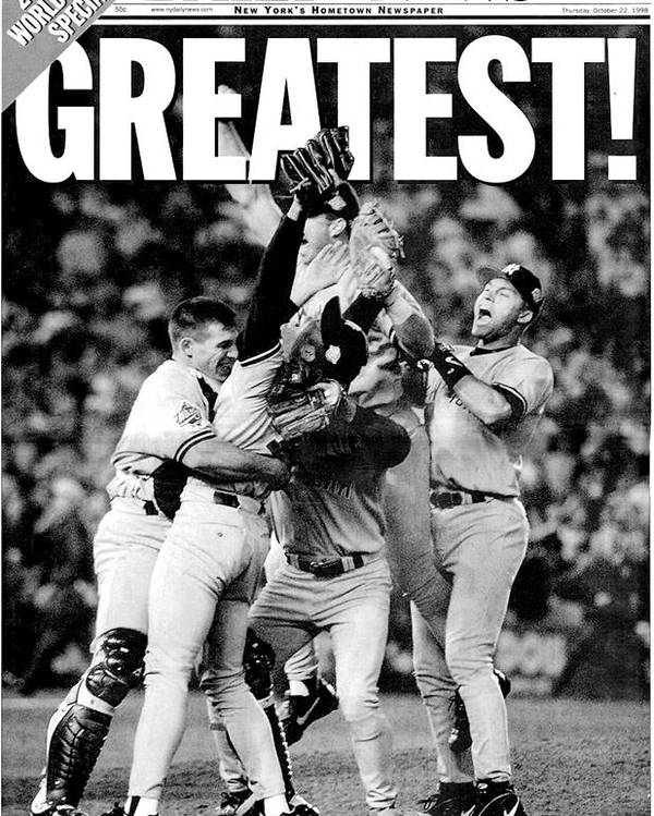 American League Baseball Poster featuring the photograph Daily News Front Page Wrap Dated Oct by New York Daily News Archive