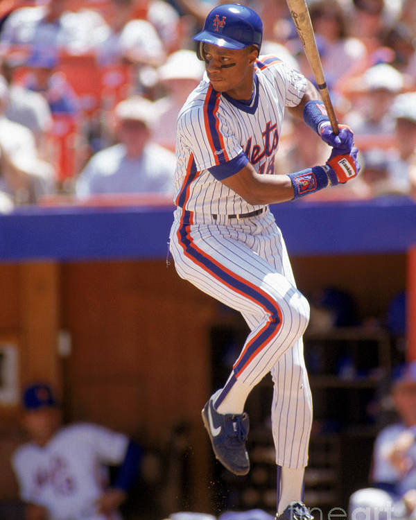 People Poster featuring the photograph Darryl Strawberry Swings by Scott Halleran