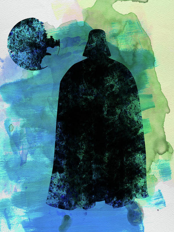 Darth Vader Poster featuring the mixed media Darth And A Star Watercolor by Naxart Studio