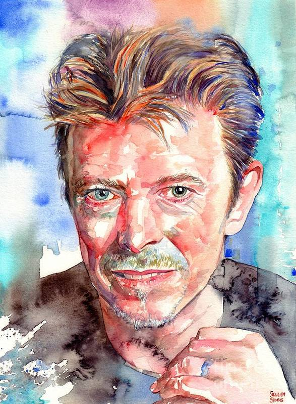 David Bowie Poster featuring the painting David Bowie Portrait by Suzann Sines