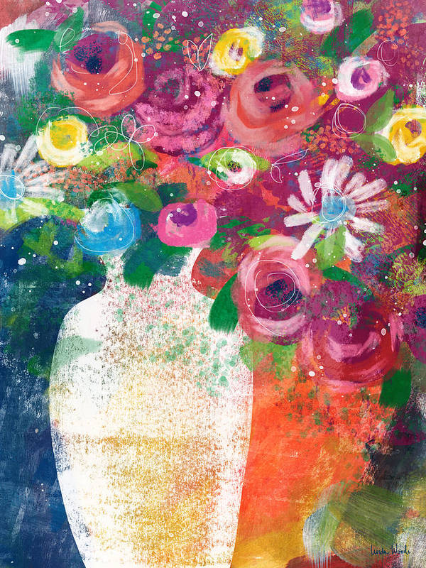 Floral Poster featuring the mixed media Delightful Bouquet 2- Art By Linda Woods by Linda Woods