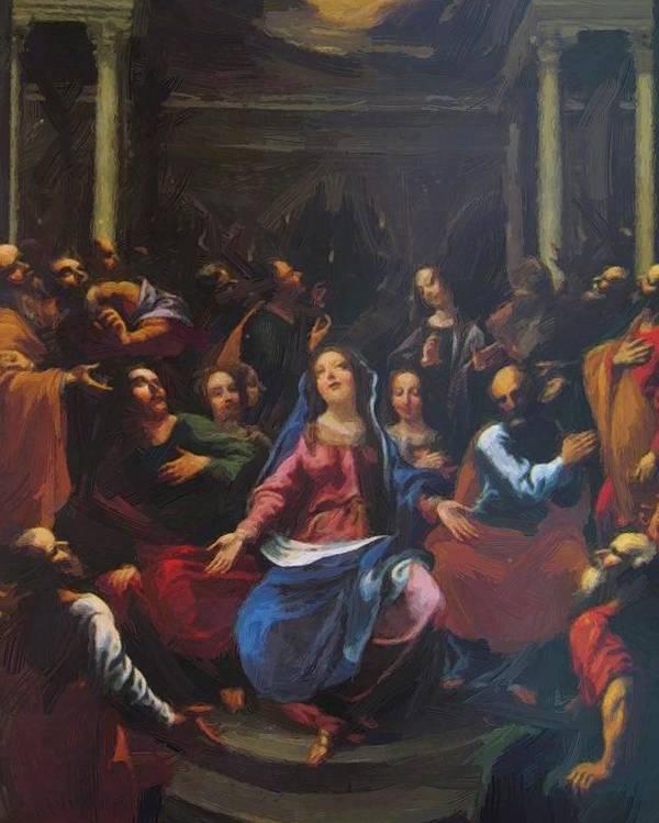 Descente Poster featuring the painting Descente Du Saint Esprit 1635 by Georges Lallemand